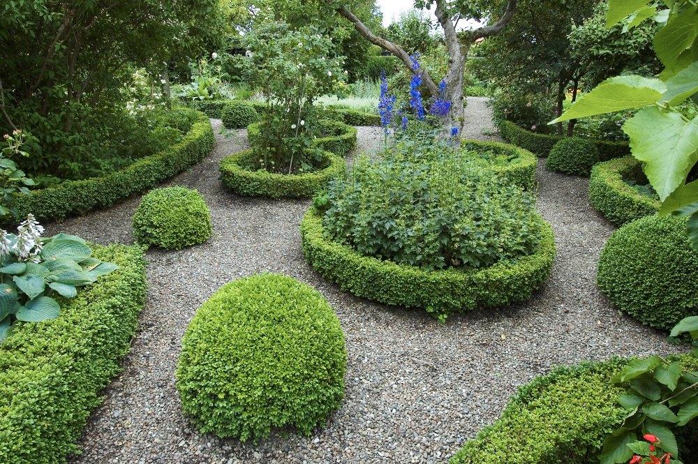 Utbredda buxbomsbollar, perenner i buxbomsinfattade rundlar och mjukt vindlande rabatter med gångar av grus kännetecknar Paul Jönska Gården i skånska Viken. Trädgården, som är från slutet av 1800-talet, rekonstruerades och återplanterades efter klassiskt mönster under 1980-talet.
