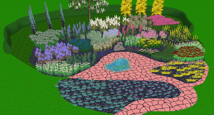 I rabattförslaget har kraftiga varma gula och röda toner glidit över i rosa, lila och vitt för att sedan övergå i blå nyanser. Sammanbindingsfärgerna grönt, grått och silver spelar en viktig roll liksom blommor med bleka toner i de använda färgerna. Du kan ladda ner rabattförslaget här. för att sedan använda i Rosenholm trädgårdsdesigner.