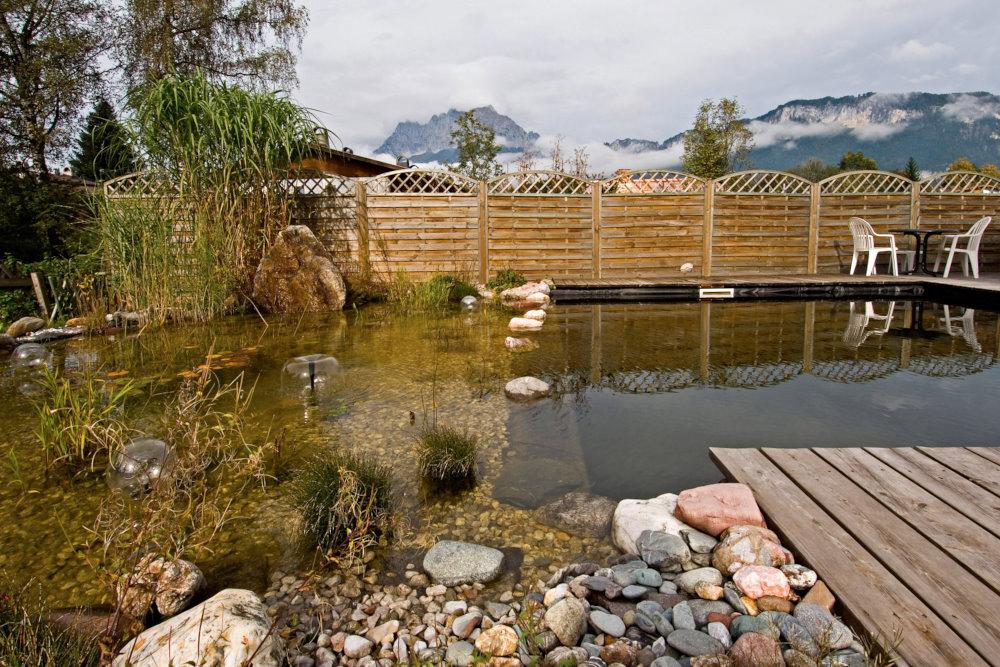 I en ekologisk pool bör damm och pool uppta ungefär lika stor yta för att den biologiska reningen, som sköts av växter och mikroorganismer, ska bli optimal. Även springvattnet ingår i vattenreningen genom att öka syrehalten i vattnet. En sån här vattenanläggning blir en tillgång också på vintern när vattnet är fruset och gräsens torra strån rör sig för vinden. Familjen Weiss pool i St. Johann i de österrikiska alperna, i höstskrud. I bakgrunden massivet Wilder Kaiser.
