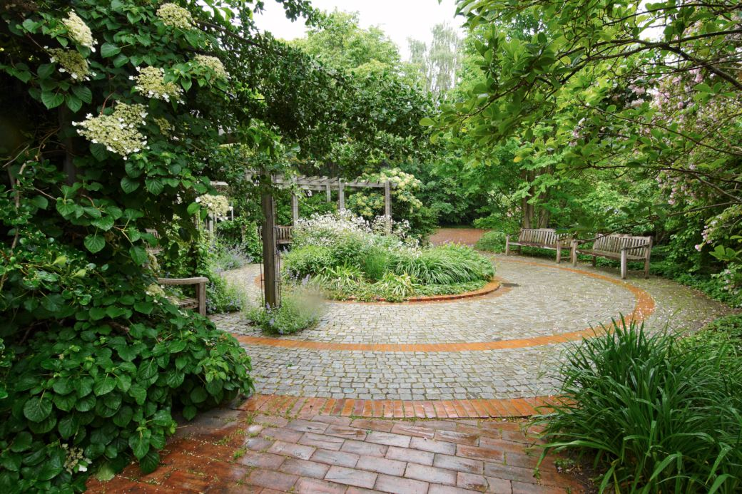Mitt inne i stadsbebyggelsen ligger den lilla Fridegårdsparken, men det märker man inte när man sitter på någon av bänkarna och tittar in över vattenarrangemanget i centrum. Hela parken är omsluten av en blandning av häckar, buskar, stora träd och en böjd växtinklädd pergolagång, anpassad till omgivningen. De ganska breda gångar som man går in i parken på är svagt krökta för att bibehålla känslan av att vara i ett eget rum.