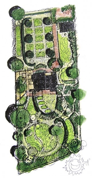 Akvarell av Per Friberg över egen trädgård i Bjärred, Skåne.