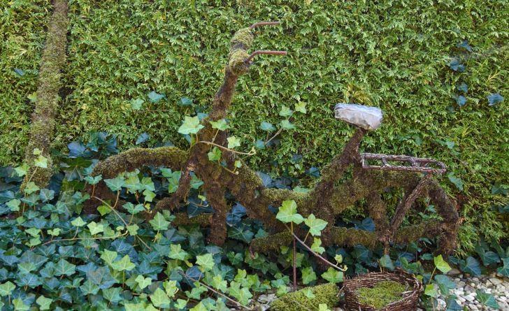 Klä din gamla cykel i vissnade växtrester och mossa.