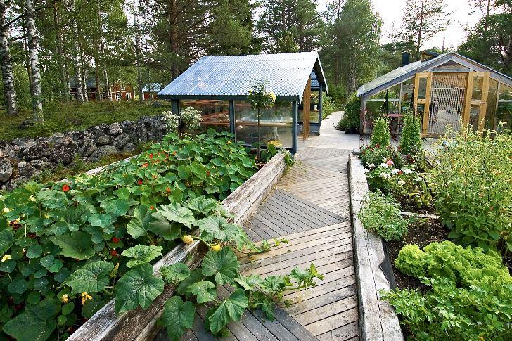 Det sinnrikt lagda trägolvet med diagonala linjer ger karaktär åt växthus- och köksträdgårdsområdet. Till höger växthuset där Cathrine varje år drar upp flera tusen plantor och till vänster byggnaden där plantorna avhärdas.