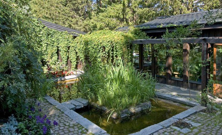 Den klängväxtinklädda villan smälter nästan omärkligt ihop med trädgården och den omgivande naturen.