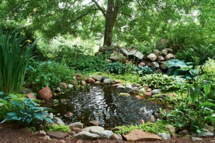 Det första område hon gav sig an förvandlades till woodland, Den jordiska fridens plats blev namnet. Dammen kom till för fyra år sedan. Löven från träden orsakar massor av städjobb, för mycket egentligen.