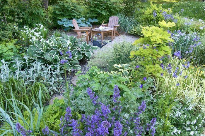 """Repetition av färger, former och växtsorter binder samman och skapar harmoni. I vår idéträdgård """"Uteplats för barn i perennhav"""" på Ulriksdal Flower Show 2004 kommer de blå, grå, vita och limefärgade nyanserna igen genom hela det lilla trädgårdsrummet och bidrar till att skapa en lugn och behaglig helhet trots att man kan räkna till fler än tjugo ingående växtsorter i denna knappt femtio kvadratmeter stora trädgård. Det lilla limefärgade trädet som sticker upp ur perennmattan är en japansk gyllenlönn, Acer shirasawanum 'Aureum'."""
