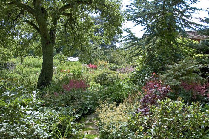 Planteringar med olika höjdnivåer ger ett lummigt och trivsamt intryck. Att som på Änglandsgården låta en liten stig löpa in mellan växterna gör det lätt att komma åt att rensa och sköta samtidigt som det ser inbjudande ut. När man skapar planteringar under träd måste man se till att jordnivån närmast trädstammen inte höjs eftersom jord för högt upp på stammen kan allvarligt skada och till och med ta död på träd