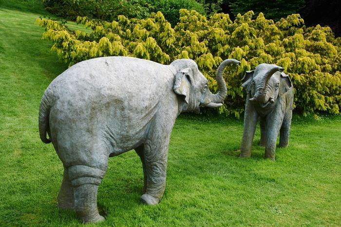 Klart en indisk trädgård ska ha ett par rejäla elefanter. Dessa är av modernt snitt och om än välgjorda egentligen det enda med kitsch-varning på Sezincote.