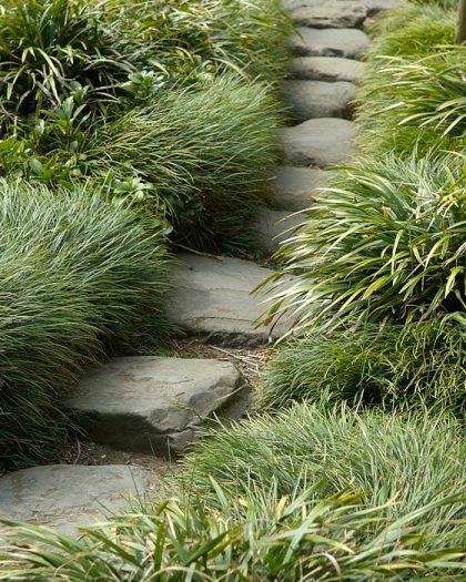 På trampstenar längs en smal stig lockas man att minska hastigheten och se sig omkring. Gräset som nuddar vristerna förstärker närvarokänslan.