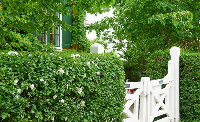 Man ska inte blygas för att stänga in sig i sin trädgård, det är ett bra sätt att minska på intrycken utifrån. Klippta häckar fungerar alltid bra, en gnisslande grind signalerar att någon kommer.