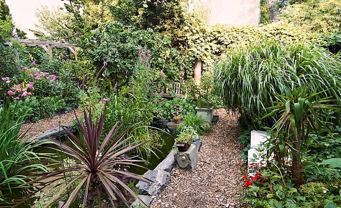 Det är alltid snyggt med kvadratiska dammar, som här i 9th Street Community Garden and Park. I den lever sköldpaddan Claudius som övervintrar genom att gräva ner sig.