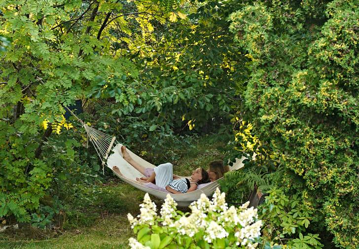 I den skogligaste delen av vår egen tomt, mellan en bok och en rönn, har vi alltid en hängmatta upphängd. Träden får bilda tak och på marken under frodas blåbärsriset tack vare att alla är lite försiktiga.